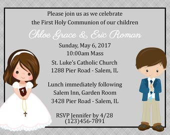 First Communion Invitation - Twins  (Digital File) / Twins First Communion Invitation / Cousins First Communion Invitation