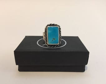 Natural turquoise rectangle sterling silver ring size 8