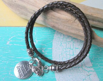 Leather-Bracelet braided brown*with Charms*Buddha*Live your dream*Hippie Style