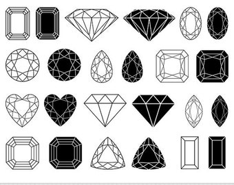 Jewelry Clipart Digital Gemstone Clipart Vector Gems Clip Art Wedding Clipart Invitations Silhouette Clipart Scrapbooking