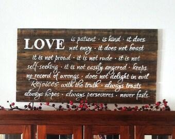 Love sign, master bedroom decor, master bedroom sign, romantic signs, romantic decor, rustic signs, family rules, scripture sign, love sign