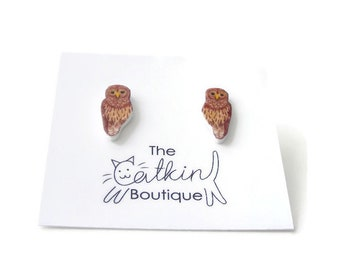 Owl earrings, owls studs
