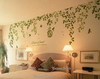 vine wall decal Sticker decal nursery decal birds decal baby children - Beautiful Flowers with Flying Birds and Birdscage