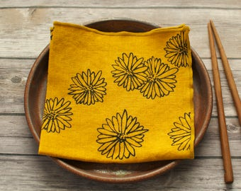 bright cheery gold yellow linen napkins hand dyed and printed with flowers set of four