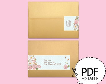 Mother's Day Flower Wrap Around Address Label-Printable PDF Download
