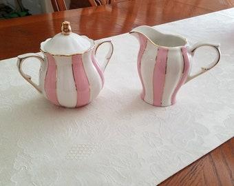 Pink & White creamer, sugar bowl
