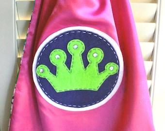 PINK Girls Princess Superhero Cape - Perfect Christmas Gift-PERSONALIZE/CUSTOMIZE - Superhero Princess Birthday Party