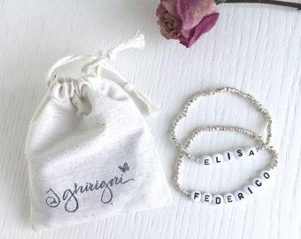 BRACCIALE con nome e perle argento 925 - è possibile personalizzarlo con il nome preferito.