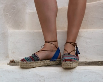 Espadrille Sandals. Lace up Espadrilles in Blue. Summer Leather and Fabric Shoes. Boho Women's Sandals. Hippie Greek Sandals. Gift for Her