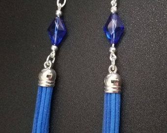 Dark blue tassel earrings