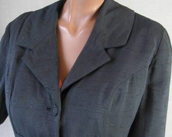 50s Jacket Vintage 1950s Black Cropped Curvy Office Dressy Suit Chic Large