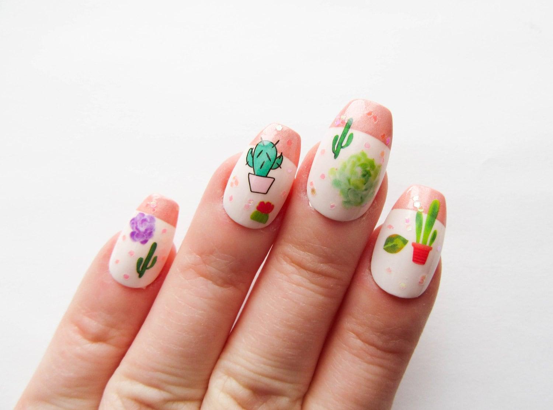 Kaktus Nägel / künstliche Nägel / Sarg Nägel / drücken Sie auf