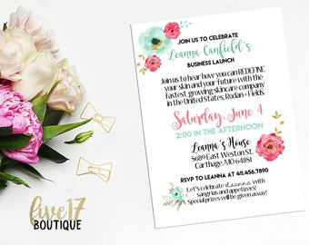 Rodan and Fields Invitation   Big Business Launch   Floral   Personalized   Digital