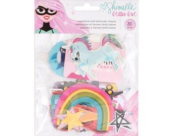 Shimelle glitter girl ephemera and hologram pieces