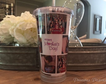 Personalized photo Tumblers with lid and straw - photo cups, photo gifts, mothers day gifts, fathers day gifts.