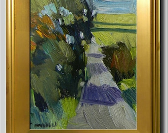 Road Landscape, Green Impressionist Oil, Lime Landscape, Tree Path Field Painting, Contemporary Plein Air, Yellow Abstract Painting