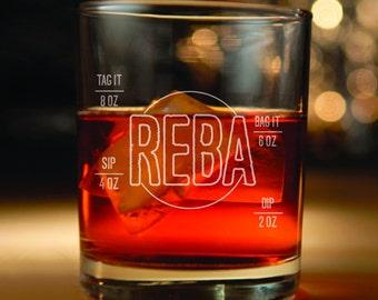 Phish inspired rocks glass with Reba Lyrics engraved Set of 2- (Birthday present, Phish, Phish rocks glass, Reba, Bag it tag it)