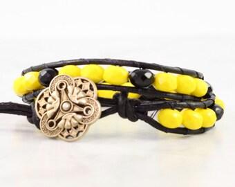 Leather Wrap Bracelet Sunny Yellow Black Leather Beaded Modern Fashion Bronze Bohemian Style Double Wrap Art Deco Jewelry