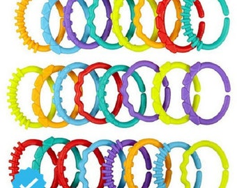 Teething rings, fasteners toys, assorted colors
