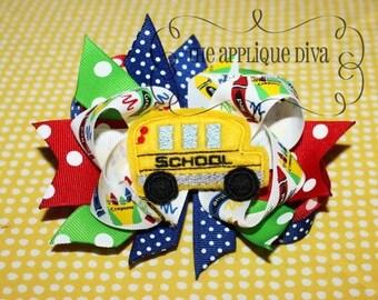 School Bus Hair Bow Center Embroidery Design Machine Applique
