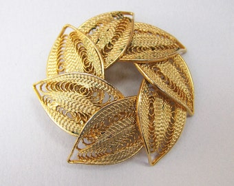Vintage Wreath Brooch with Filigree Leaves
