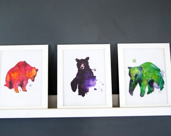 Bear Prints, Black Bear Painting, Watercolor Bear, Statement Bear Painting, Bear Print, Purple and Black Bear, Statement Piece
