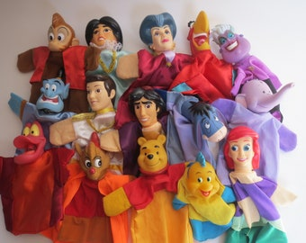 Disney hand puppets punch and judy hand puppets Aladin, Little mermaid, Winni the pooh, Cinderella