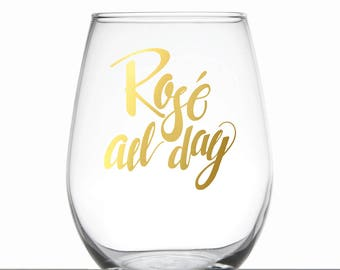 Rosé all Day Gold Foil Glass