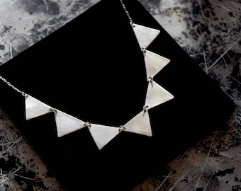 Handmade sterling silver, bunting, triangle necklace