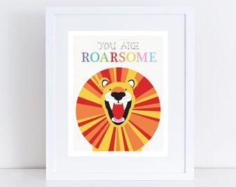 roaring lion print nursery art - illustration nursery wall art kids wall art decor fun orange yellow, inspriational awesome you are roarsome