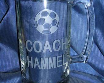Etched glass mug, beer mug, engraved glass mug, groomsman mug, wedding glass, coach etch glass, custom glass mug, personalized glass mug