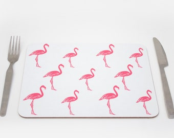 Flamingo Placemats | Pink Bird Placmeat | Tropical placemat | Kitch placemat | Tablemat | Childrens placemat | Kids placemat
