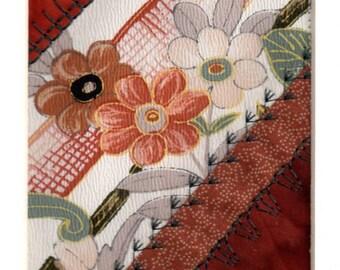 Mini Crazy Quilt Collage Autumn Floral Vintage Silk Kimono Patchwork Ready to Frame