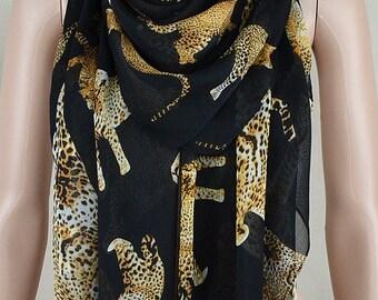 Black chiffon scarves, brown leopard print scarf, large size square scarf, shawl