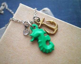 Seahorse & Anchor Charm Necklace - Nautical Necklace w/ Kelly Green Vintage Seahorse - Mixed Metal Boho Layering Pendant Animal Jewelry Gift