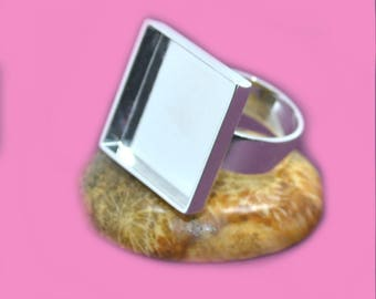 1 support ring silver colored brass 20x20mm
