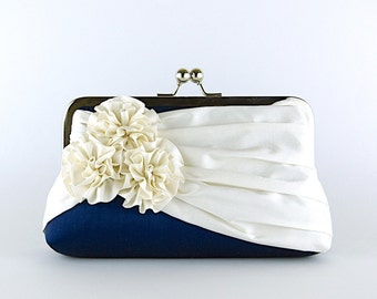 Roses Silk Clutch in Navy and Ivory, Wedding clutch, Wedding bag, Bridesmaid clutch, Bridal clutch, Purse for wedding