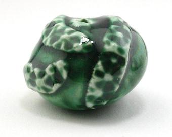 dark green beads, porcelain beads, ceramic beads, emerald green beads, sprig beads, artist beads, focal beads, green beads, nugget beads