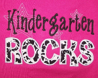 Kindergarten Rocks tshirt appliqued Damask fabric t shirt