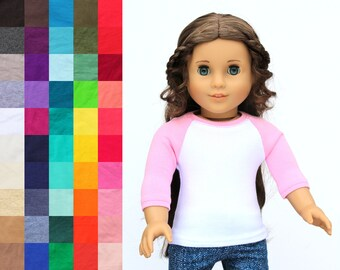 Fits like American Girl Doll Clothes - The Baseball Raglan Tee, You Choose Colors and Sleeve Length   18 Inch Doll Clothes
