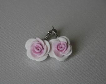 White and pink rose bridal wedding earrings, Pastel pink earrings, Wedding Jewelry, Bridesmaids Gift