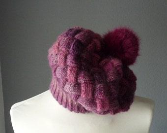 Multi color Chunky Pompom Hat - Women Knit Hat - Pompom Beanie