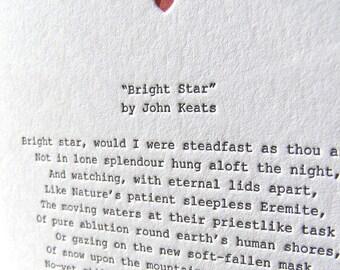Letterpress Note Card - Love Poetry (Keats)