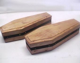 15 inch Halloween Comstock Railroad Wood Coffin Box
