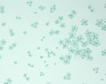 1950s Vintage Wallpaper by the Yard - Floral Wallpaper with Pale Mint Green Floral with Tiny Flowers