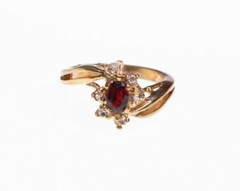 Vintage Garnet Crystal and CZ Statement Ring