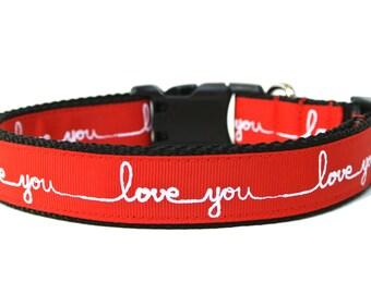 "Valentines Day Dog Collar 1"" Love Dog Collar"