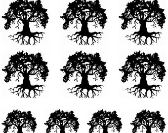 "Oak Tree with Roots Black Fused Glass Decals 5""X3.5"" Card 16CC763"