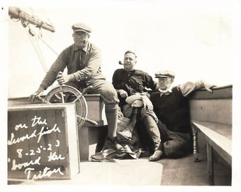 "Vintage Snapshot ""On The Swordfish"" Man At The Helm Of A Sailboat Fishing Trip 1923 Found Vernacular Photo"