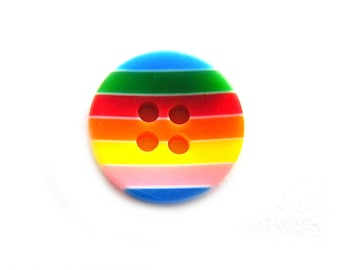 10 Rainbow Striped Buttons 12mm